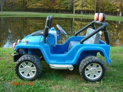 2 Seater Power Wheels Blue Jeep Children's Ride On Toy For P