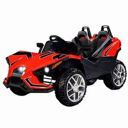 Uenjoy 2 Seats Kids Car 12V Ride On Racer Cars w/Remote Cont