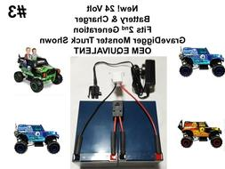 24V VOLT Battery & Charger for Grave Digger Power Wheels Toy
