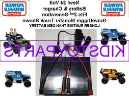 24V VOLT Battery & Charger LONGER RUN Grave Digger Power Whe