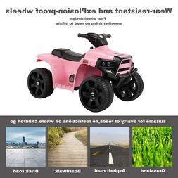 6V Electric Kids Ride On Pink ATV Quad 4 Wheels Toy Car Led