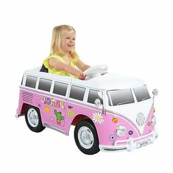 6V VW Type 2 Bus Ride-on Battery Powered Toy Car, Pink Femal