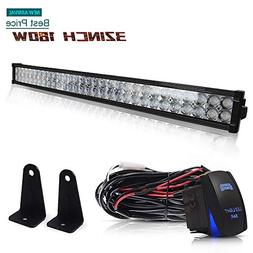 "DOT 32"" Inch 180W Led Light Bar Combo Grill Windshield Bumpe"
