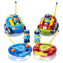 Prextex Pack of 2 Cartoon R/C Police Car and Race Car Radio