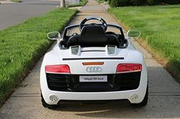Audi R8 White Licensed Dual Electric Motor 12V Kids Ride-On