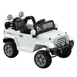 Aosom 12V Kids Jeep Ride On Car with Remote Control - White