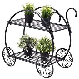 Giantex Garden Cart Stand Flower Pot Plant Holder 2 Tier Dis
