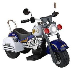 Merske Harley Style 6V Battery Operated Kids Motorcycle, Blu