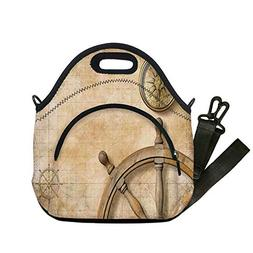 Insulated Lunch Bag,Neoprene Lunch Tote Bags,Nautical,Steeri