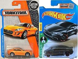 Jaguar Matchbox & Tesla Model S Set Hot Wheels gray #241 201