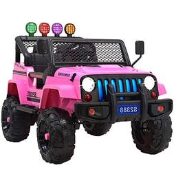 Uenjoy Jeep Electric Kids Ride On Cars 12V Battery Power Veh