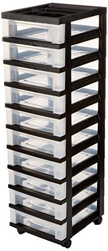 10 Drawer Rolling Storage Cart, Black