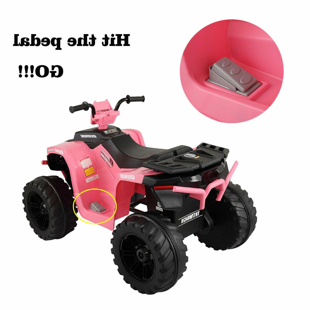 12V Kid ATV 4 Electric Powered Toy W/ Music Pink