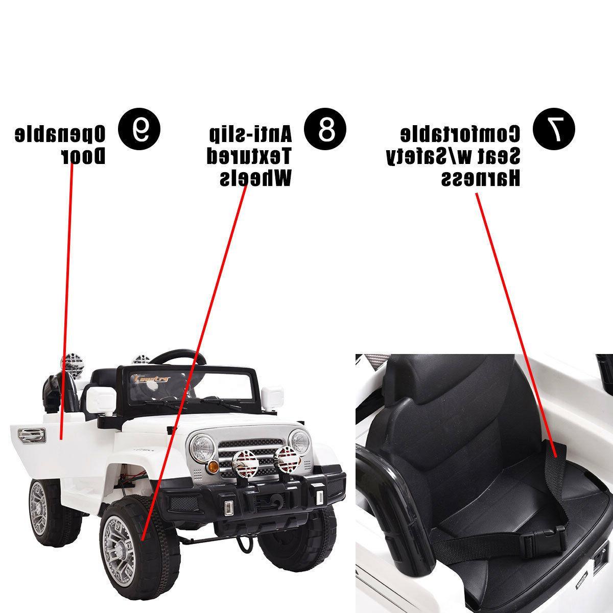 12V Car Remote Ride LED Lights White