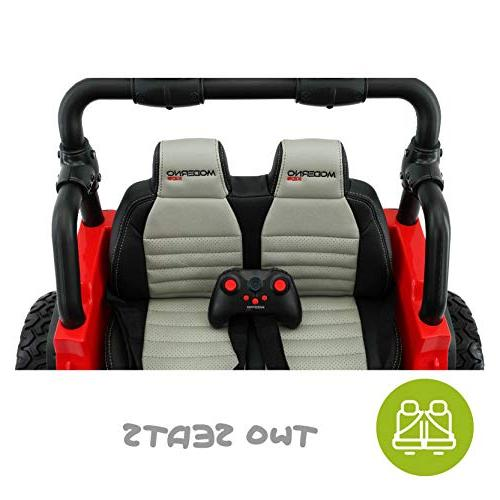 Best Electric Car - Two 2019 Control Kids Large Capacity Battery Licensed to Drive with Speeds, Leather Seat, Rubber Tires -