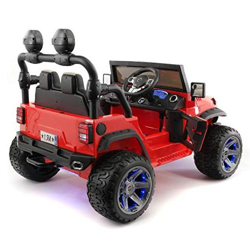 Best Electric Car - Two 2019 Truck with Remote Control for | Large Capacity 12V Battery to with 3 Speeds, Leather Rubber Tires -