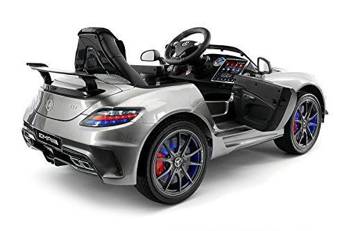 Carbon Silver Mercedes Benz Kids, Powered Kids Ride Remote, Screen TV Seatbelt