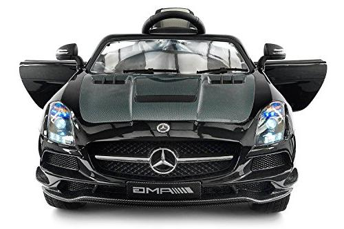 Carbon Silver SLS AMG Mercedes Benz Car for Kids, 12V Powere