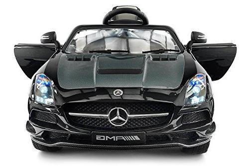 Carbon Silver SLS AMG Mercedes Benz Car for Kids, 12V Powere