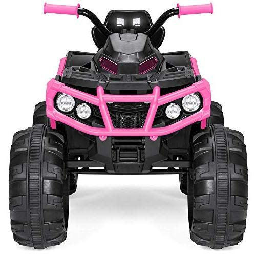 Best Products 12V Kids 4-Wheeler ATV Ride-On Toy 3.7mph Headlights, AUX Jack, Pink
