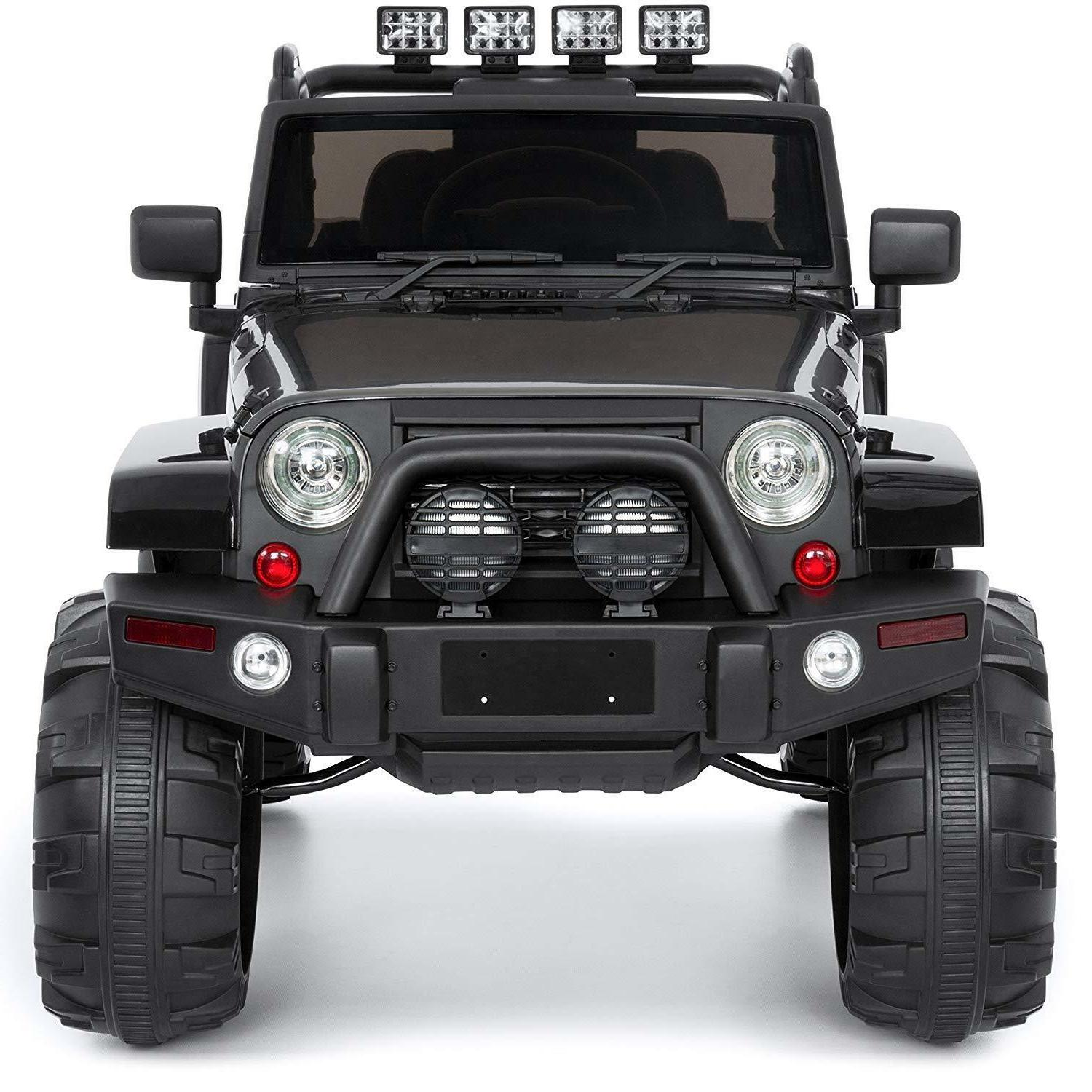 Cars Kids On Truck Jeep Remote Control Boys Black