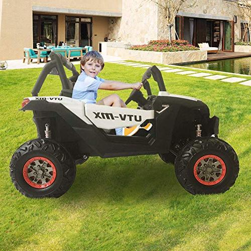 Dporticus Electric Ride Car with Two Seater Remote Control for White