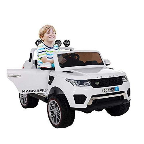 Dporticus Kids 12V Kids Two 3-Speed Ride 3-Speed Driving Ride Remote Control as 12V White