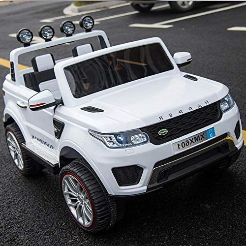 Dporticus 12V Cool Kids Two 3-Speed Speed Driving Ride Vehicle Two-Seater 3-Speed Variable Ride On Car with Remote 12V White
