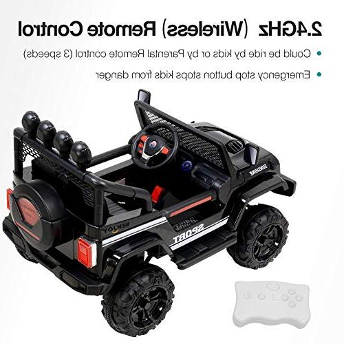 Uenjoy Electric Ride On Cars Power Suspension, Remote Control, Story Sunshine Black