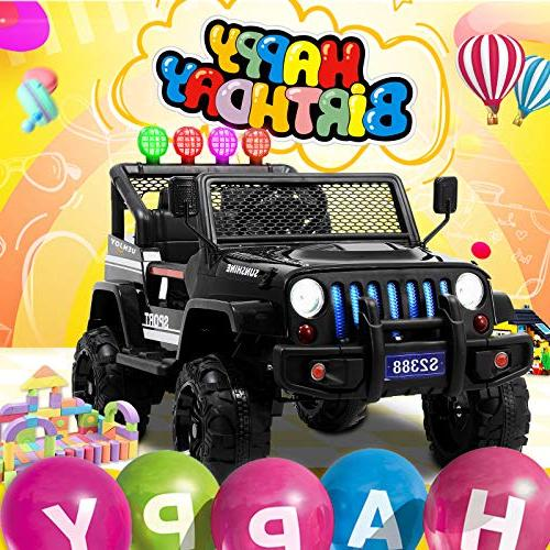 On Cars 12V Power W/ Wheels Suspension, Control, Story Playing, Colorful Sunshine Black