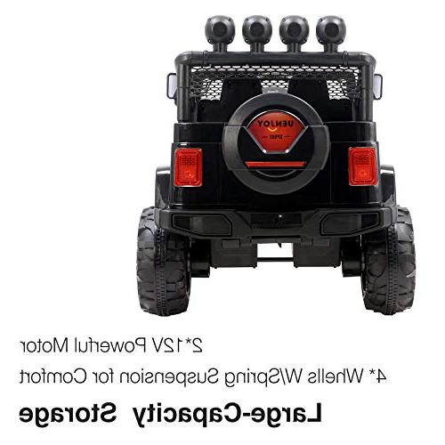 Uenjoy Electric On Cars Battery Power W/ Wheels Suspension, Music& Story Playing, Colorful Sunshine Model, Black