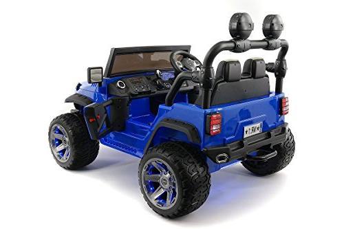12 Explorer Truck 2 Children On Toy Car Kids Leather Music Player Radio Bluetooth Remote