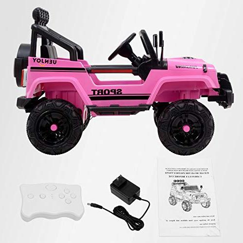Uenjoy Jeep Ride Cars Battery Vehicles Wheels Suspension, Music& Lights, Sunshine Pink