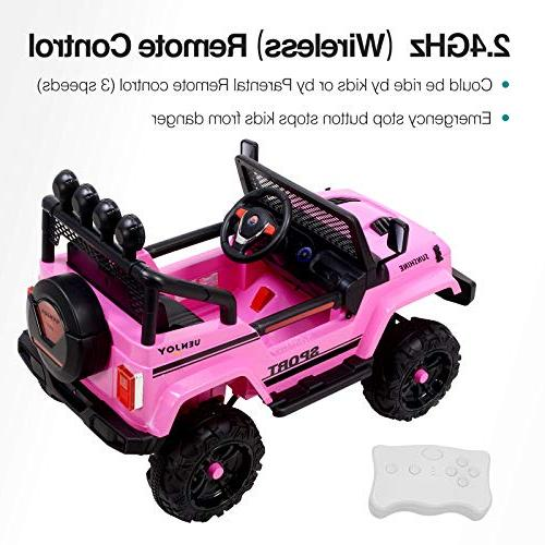 Uenjoy Battery Power Vehicles Wheels Suspension, Remote Music& Playing, Lights, Sunshine Model,