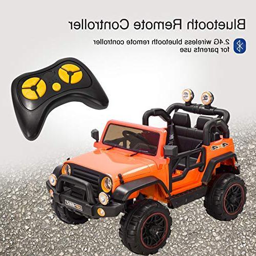 Uenjoy Ride 12V Motorized with Remote Control, Speeds, Head Lights, Model HP-002, Orange