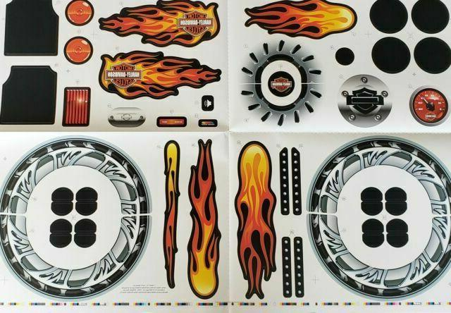 power wheels label stickers harley davidson flames motorcycl