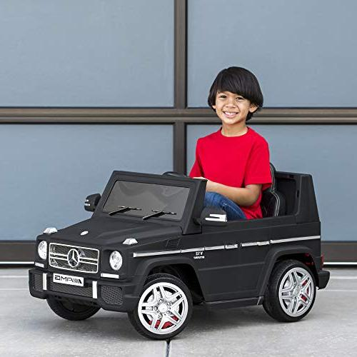 Best Products Kids Powered Mercedes-Benz Ride-On Car Control, Built-in Speakers, LED Lights, AUX, - Matte Black
