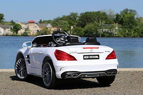 First Drive Benz SL White Cars Motor Electric Power Ride Car Remote, Aux Cord, and Premium
