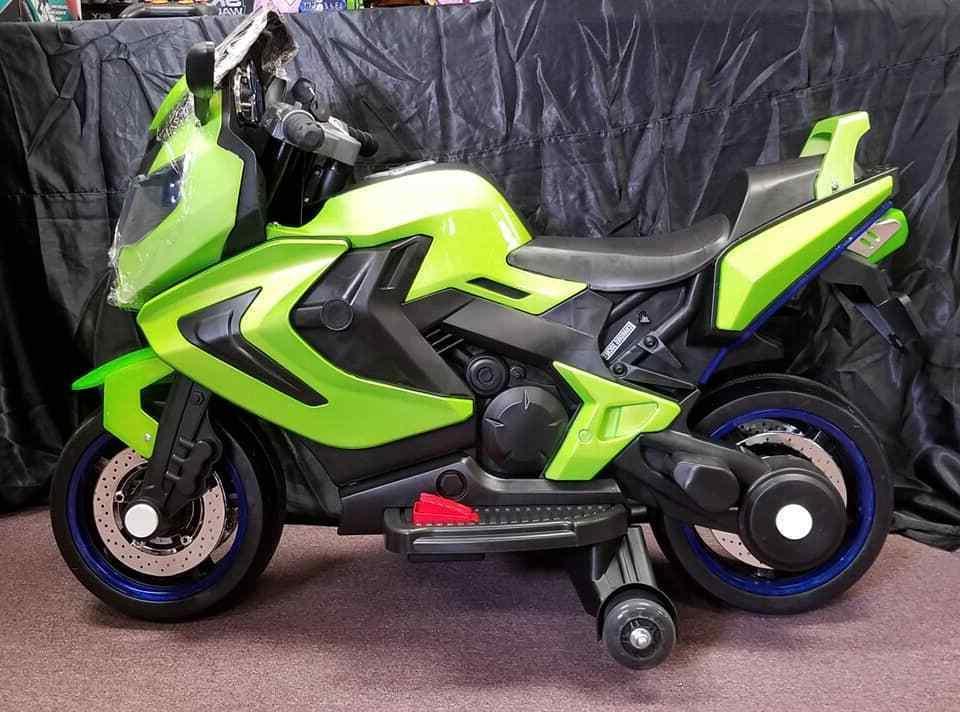 NEW LED 12V mp3 MOTORCYCLE KIDS RIDE ON green SPORTS BIKE GI
