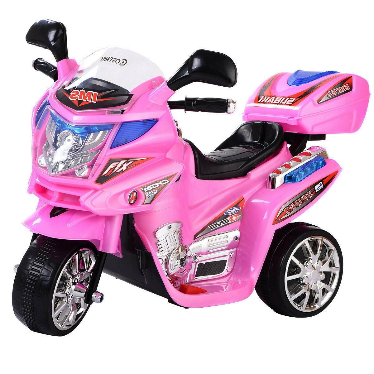 Pink Kids Motorcycle Ride On Electric Girls Bike Battery Pow
