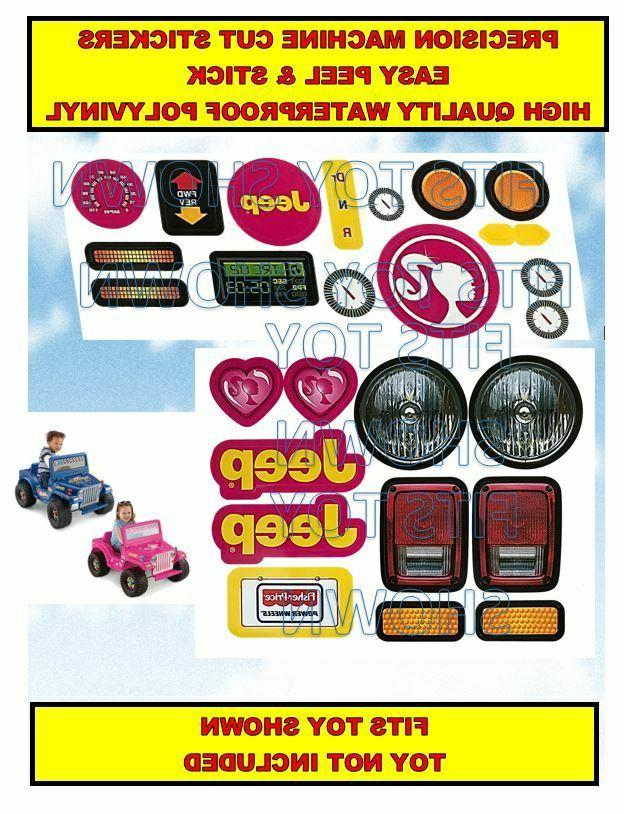 replacement decals stickers fits barbie jeep wrangler