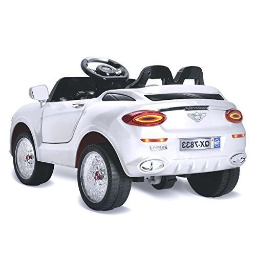 Costzon Ride 6V Vehicle, Manual/ Control Modes Car w/Flashing Wheel Lights, 3 Bluetooth, Music, Kids
