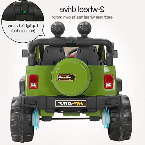 Uenjoy on 12V Electric Motorized for Kids with Control, Speeds, Lights, Model HP-002, Green