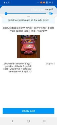 used fisher price barbie jeep wrangler pink