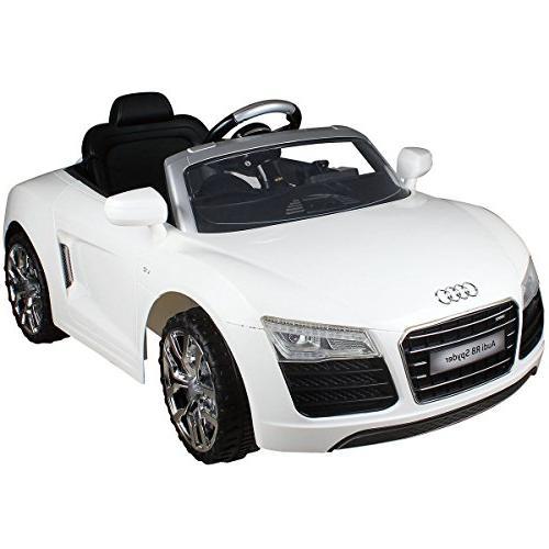 white audi electric ride car