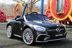First Drive Mercedes Benz SL Black 12v Kids Cars - Dual Moto