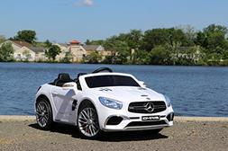 First Drive Mercedes Benz SL White 12v Kids Cars - Dual Moto