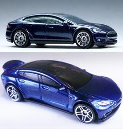 Tesla Model S Blue Hot Wheels #242 2016 & Matchbox #7 New Ca