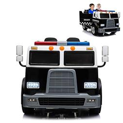 Police Truck Electric Ride On Car 2 Seats with Remote Contro
