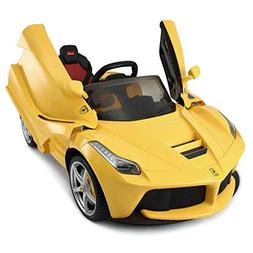 Rastar Ferrari LaFerrari Kids Ride On Car Yellow 12V Battery